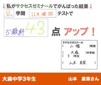 大森中学3年生 山本星菜さん私がサクセスゼミナールでがんばった結果2学期11月確認テストで 5教科43点 アップ!
