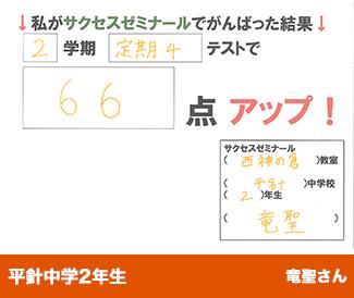 平針中学2年生 竜聖さん私がサクセスゼミナールでがんばった結果2学期定期4テストで 66点 アップ!
